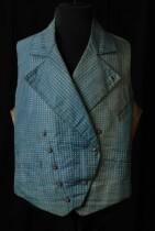 Herenvest, front van blauw-wit damast met brede revers en double breasted, okerkleurige rug