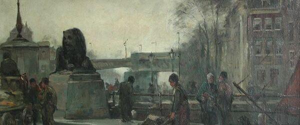 Stadsgezicht met Vierleeuwenbrug (Koningsbrug)