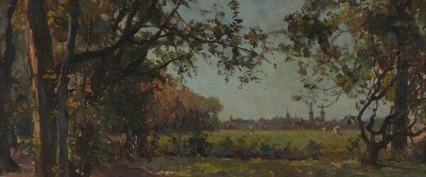 Landschap met op de achtergrond Rotterdam, Land Hoboken