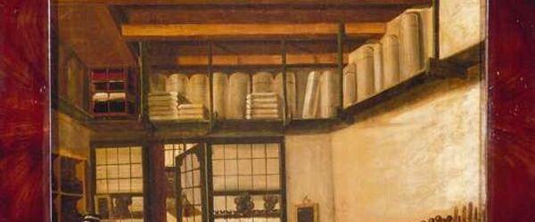 Schoorsteenstuk met interieur van de zeilmakerij van Joris Willeken in Rotterdam