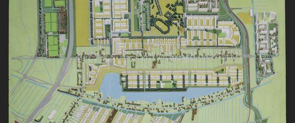 Maquette, wijk Prinsenland, rechthoekig geschilderd houten grondplan met verwisselbare stukken grondplan