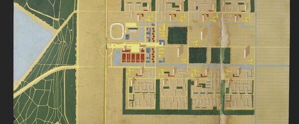 Presentatiepaneel van het C.I.A.M.-plan stad van de toekomst