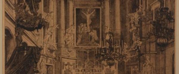 Zicht in het koor van de RK Rosaliakerk te Rotterdam, in houten lijst