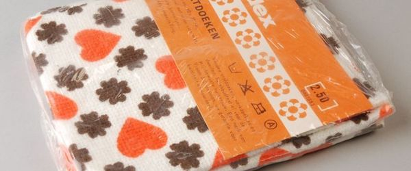 """Drie vaatdoeken van """"VENDEX"""" in originele verpakking"""