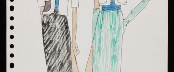 """Mode-tekening, ontwerptekening in gemengde technieken op wit papier, """"Cargelli '79"""""""