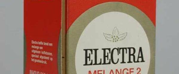 Rood, kartonnen pak VAN NELLE'S ELECTRA KOFFIE, grootverbruik, melange 2, speciaal gebrand, bonen, 250 gram