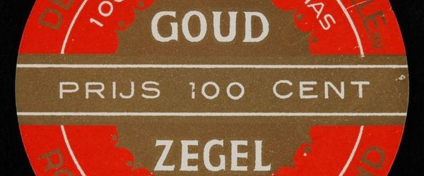 Rond label VAN NELLE´S VARINAS GOUDZEGEL ROOKTABAK, 100 CENT