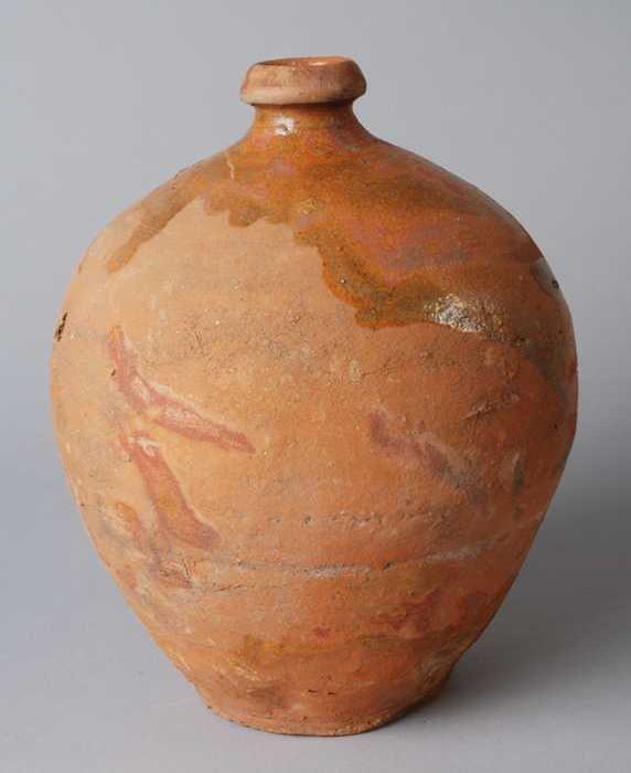 Aardewerk eivormige kruik met korte hals loodglazuur op de schouder museum rotterdam van - Aardewerk rode keuken ...